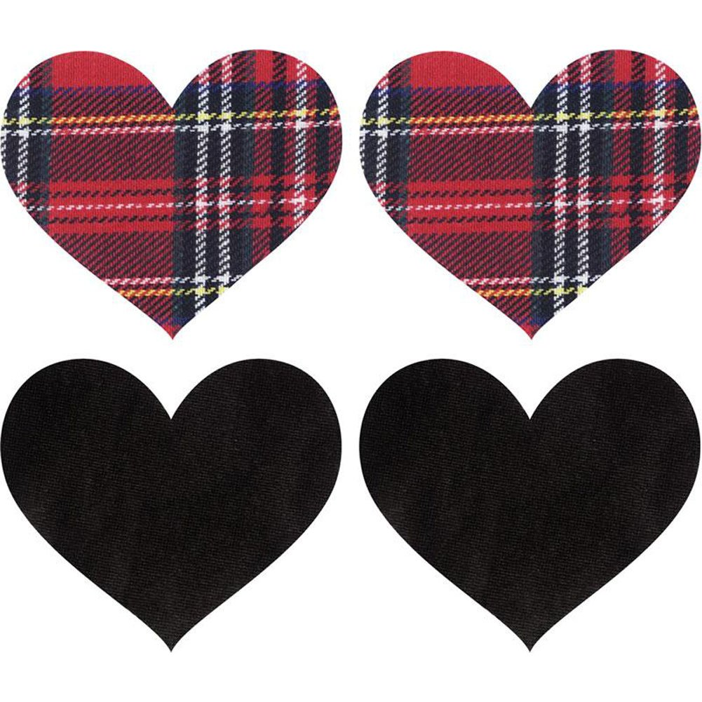Peekaboos Schoolgirl Hearts Self-Adhesive Pasties 2 Pair Pack Red and Black - View #1