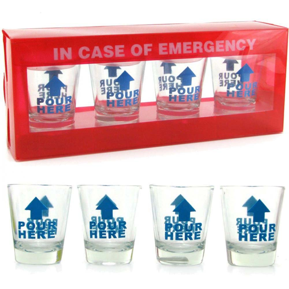 In Case of Emergency Shot Glasses 4 Piece Pack - View #1