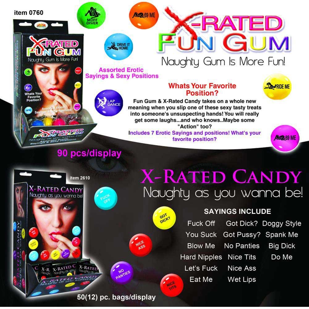 X-Rated Fun Gum with Assorted Erotic Sayings 90 Piece Display Case - View #1
