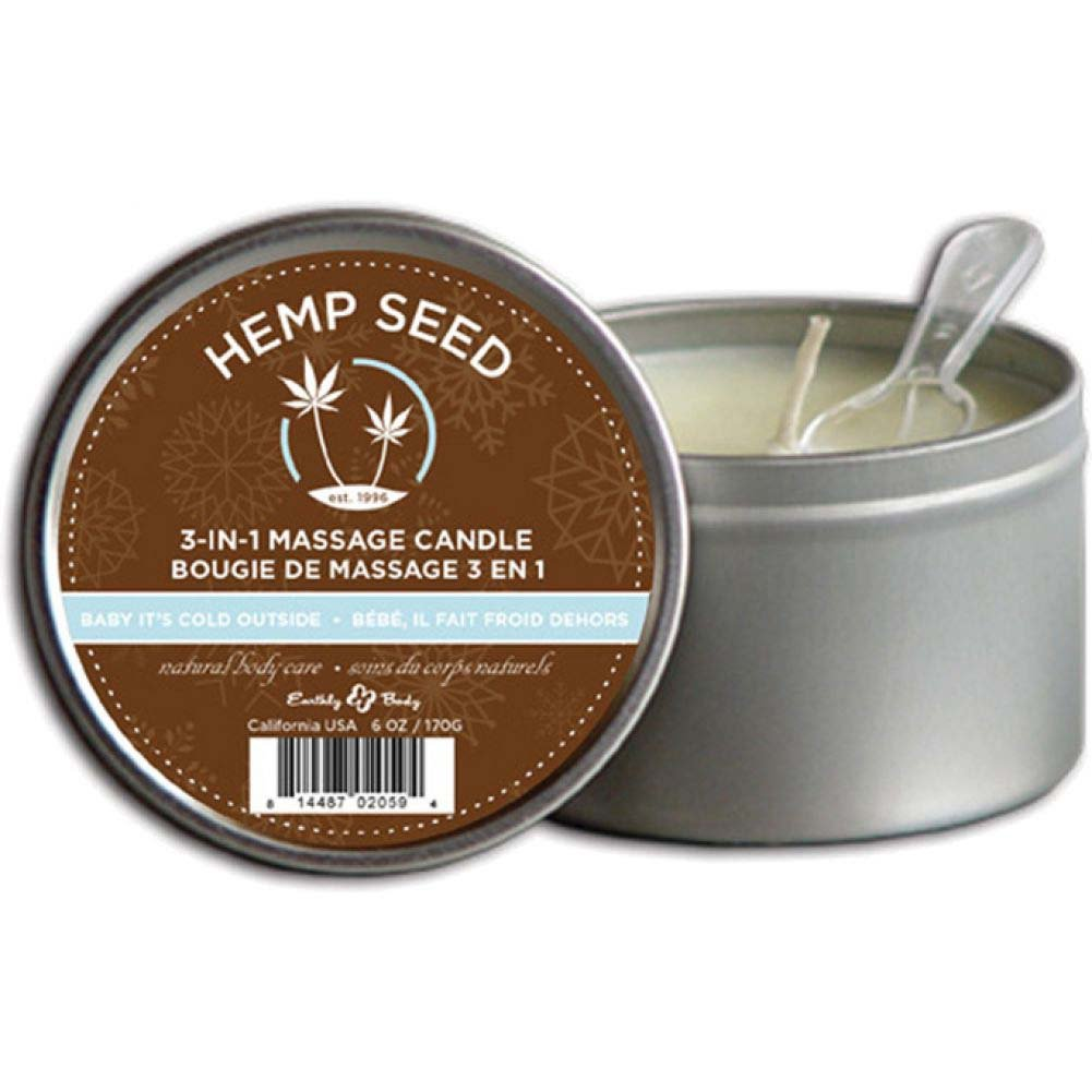 Earthly Body Holiday 3 In1 Hemp Seed Oil Massage Candle 6 Oz 170 G Baby ItS Cold Outside - View #1