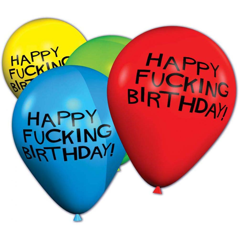 """11"""" Happy Fucking Birthday Balloons Pack of 8 Assorted Balloons - View #2"""
