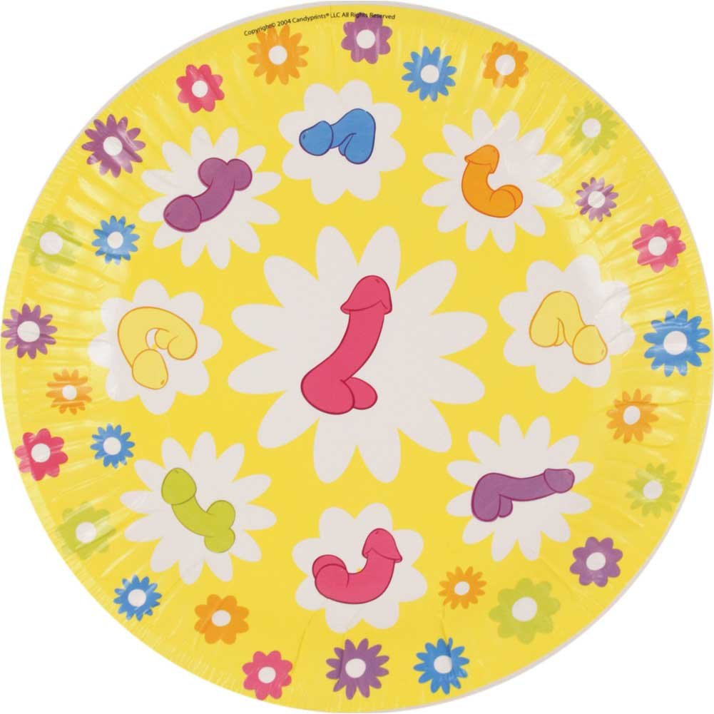 "Super Fun Penis 7"" Party Plates 8 Count - View #2"