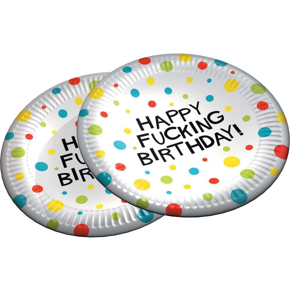 "7"" Happy Fucking Birthday Plates Bag of 8 - View #2"