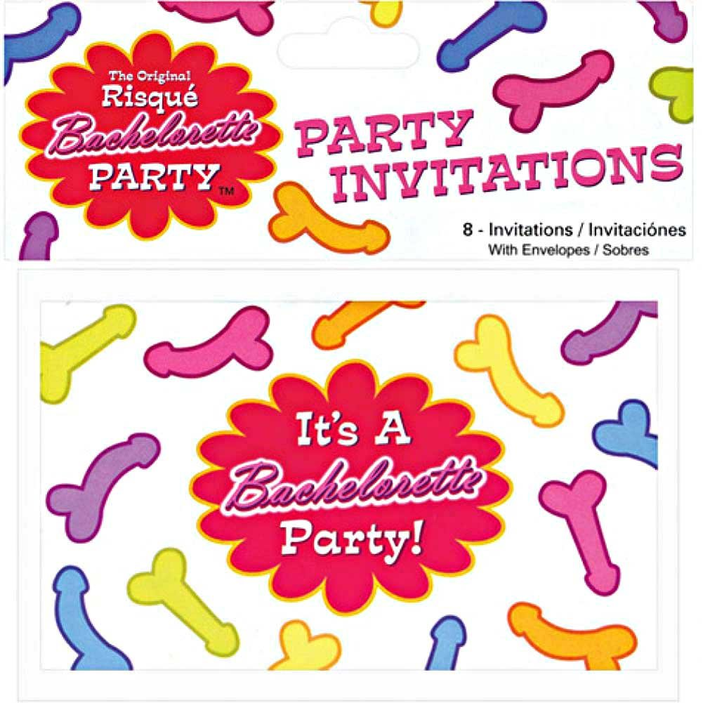 Risque Bachelorette Party Invitations and Envelopes 8 Count - View #1