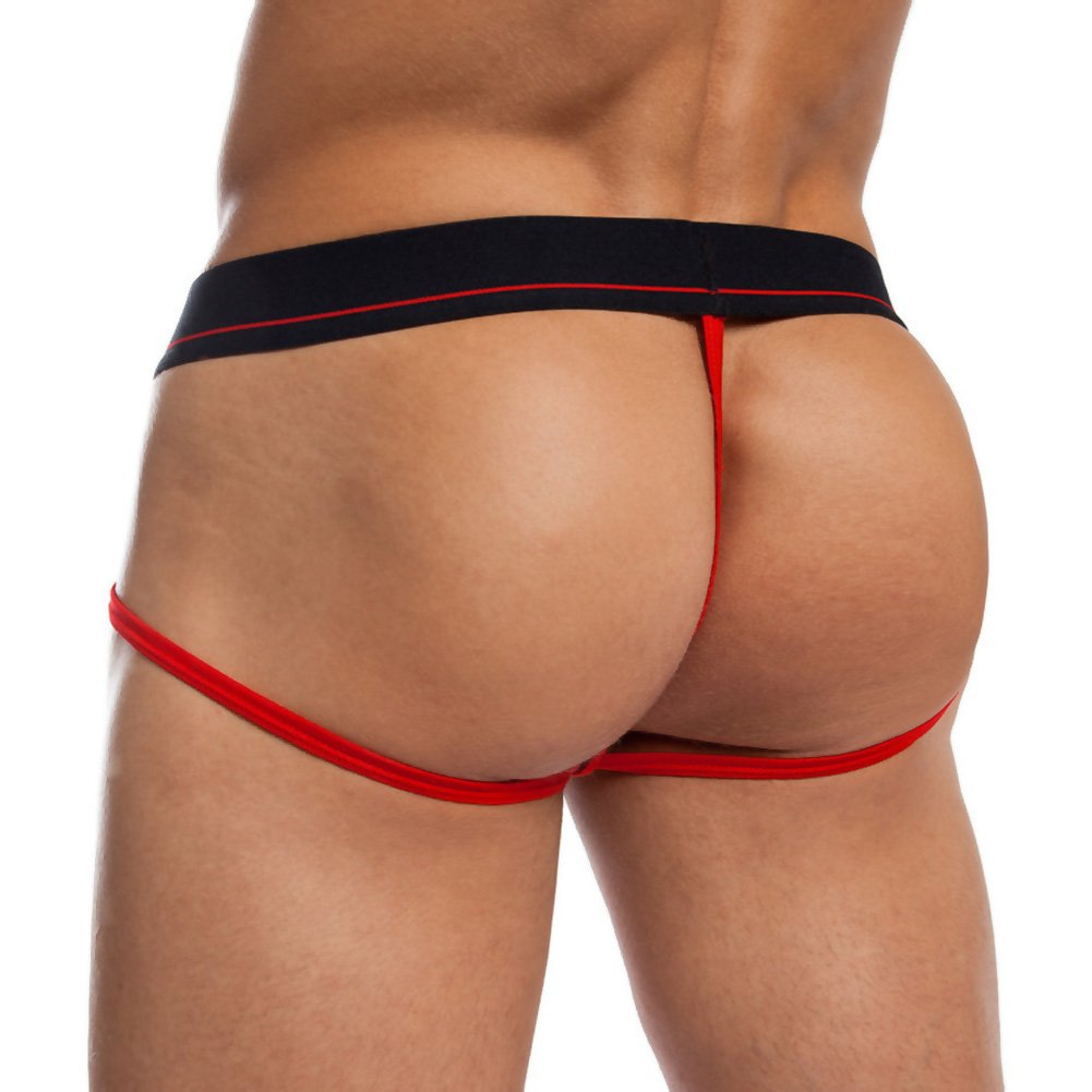 Jack Adams Jock Thong Black Red Large - View #2