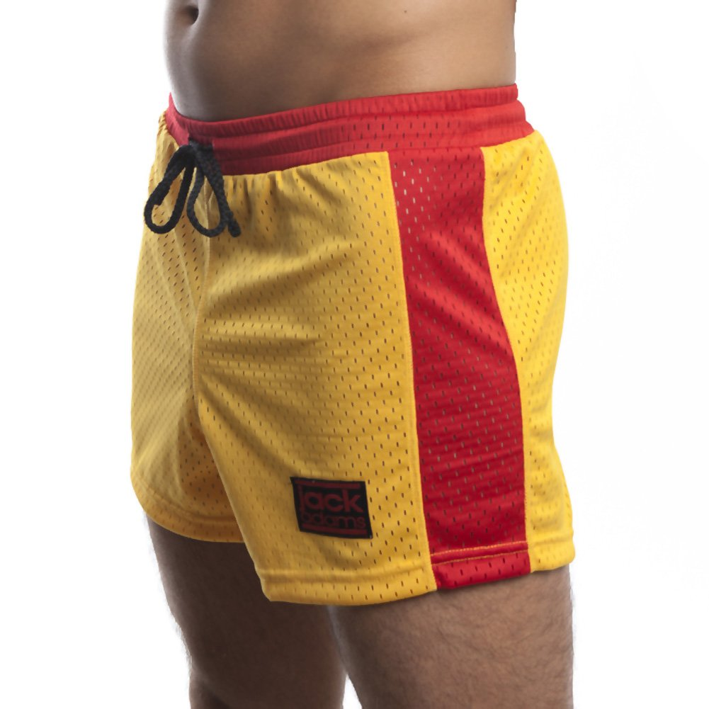 Jack Adams Air Mesh Gym Short Gold Red Medium - View #1