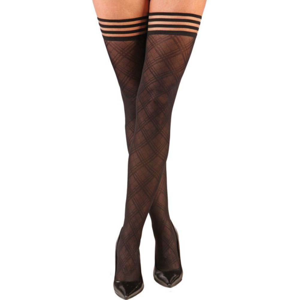 KixIes Tiffany Diamond Thigh High Black B - View #1