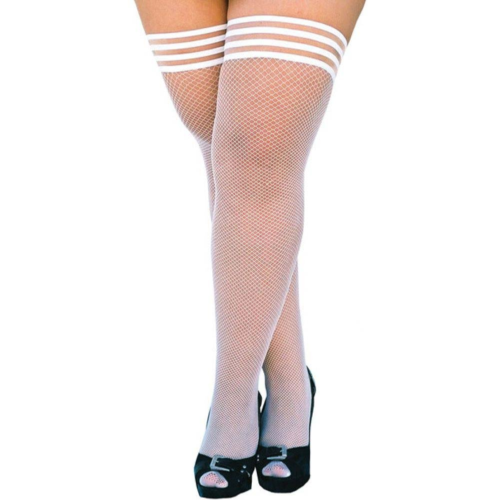 KixIes Sammy Fishnet Thigh High White D - View #1