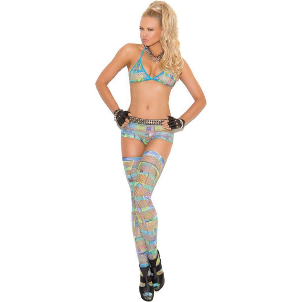Vivace Bra Top Booty Shorts and Thigh Highs in Geometric Print Multi Color One Size - View #1
