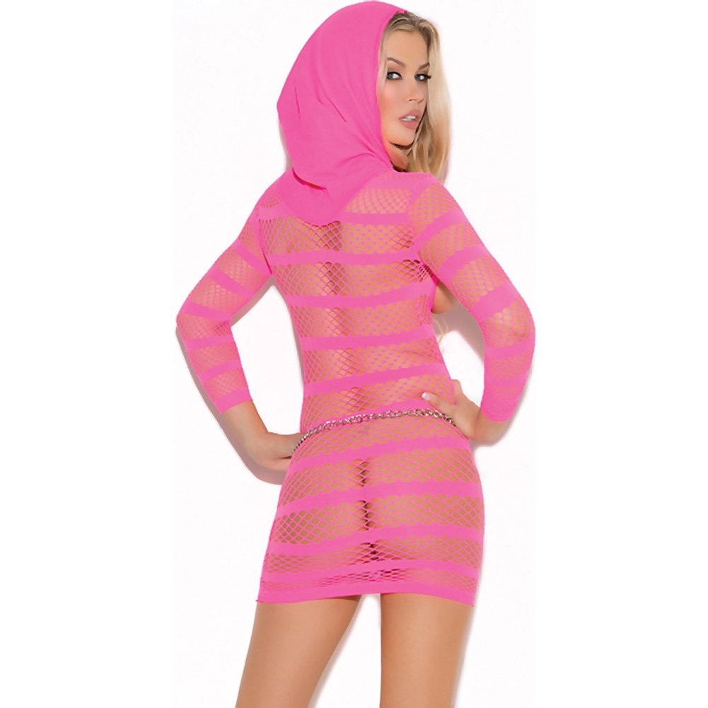 Vivace Hooded Mini Dress with Sleeves Neon Pink One Size - View #2