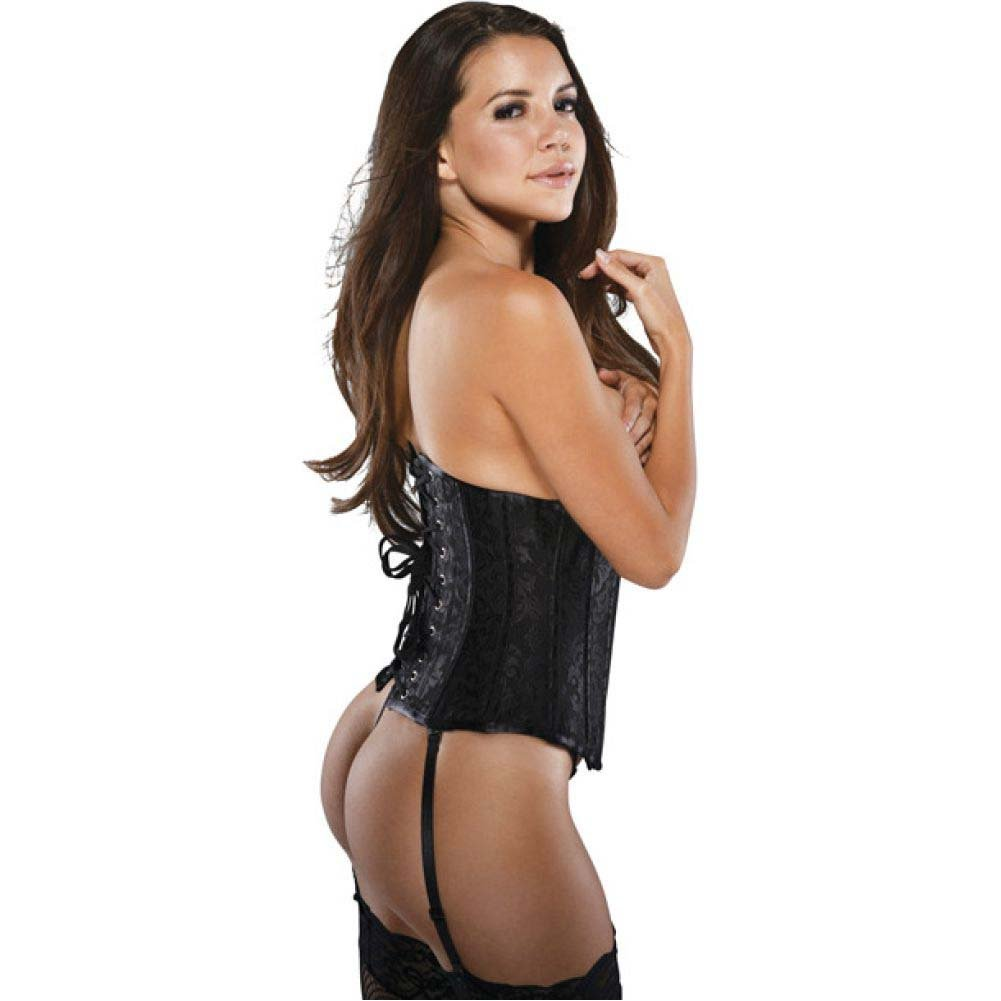 Brocade Pattern Waist Cincher with Acrylic Boning and Steel Busk Closure Black Large - View #2