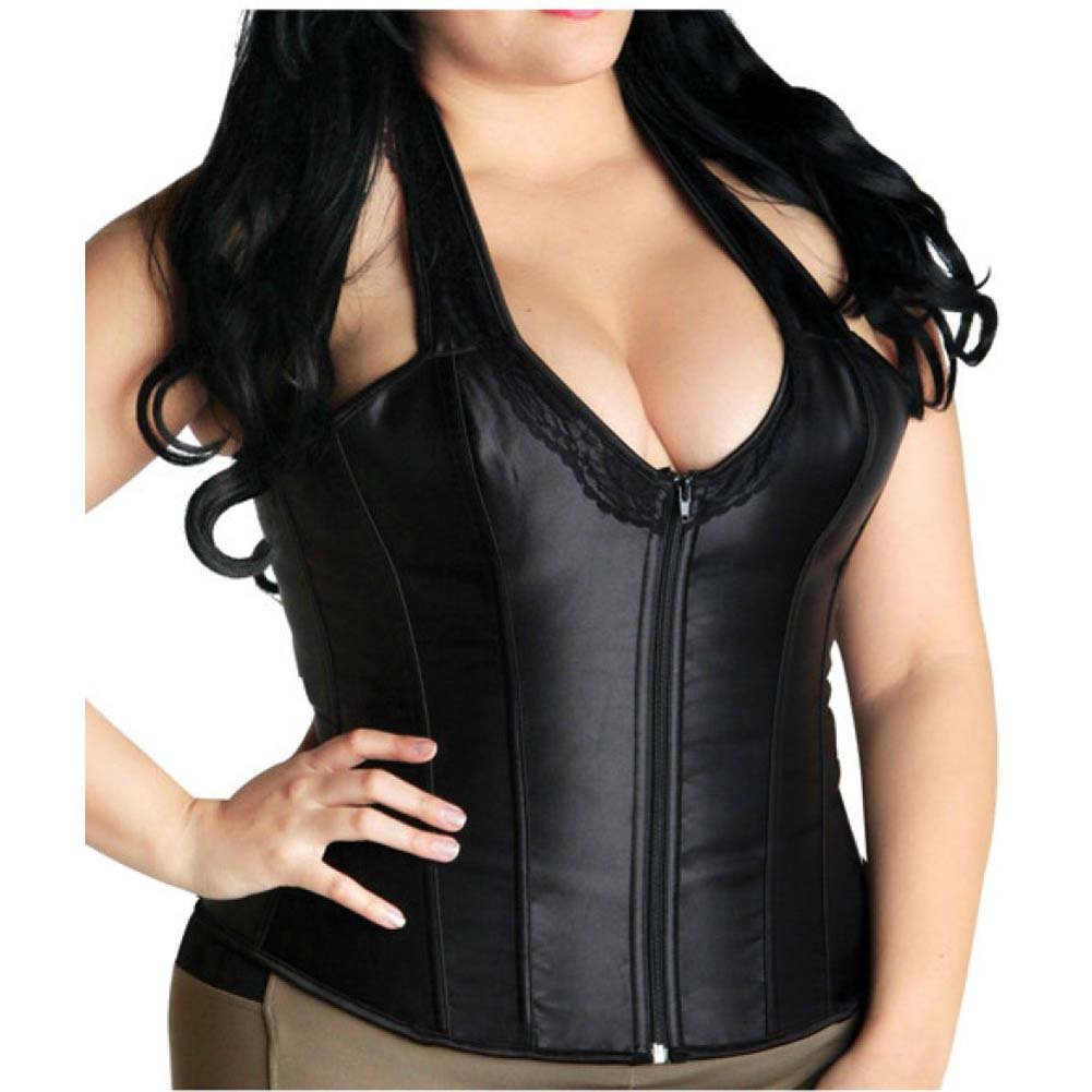 Halter Corset with Lace Top and Zip Up Front Black 2X - View #2