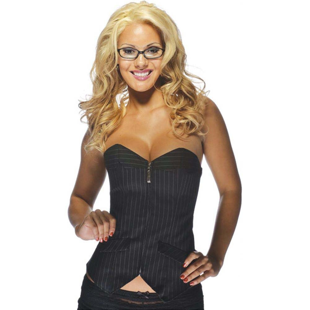 Office Girl Corset with Zip Up Front Pinstripe Black Large - View #1