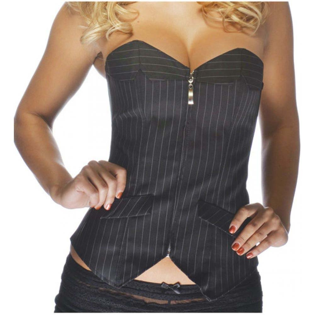 Office Girl Corset with Zip Up Front Pinstripe Black Medium - View #2