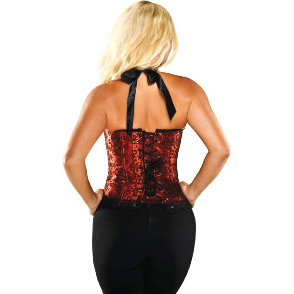 Halter Floral Print Corset with Hook and Eye Closures and Acrylic Boning Red Black 32 - View #2