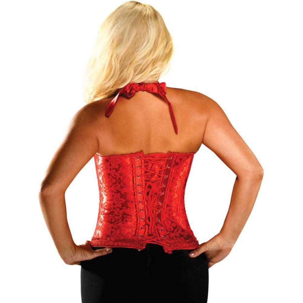 Bonitaz Lingerie Floral Print Halter Tie-Top Corset with Acrylic Boning Size 44 Red - View #2