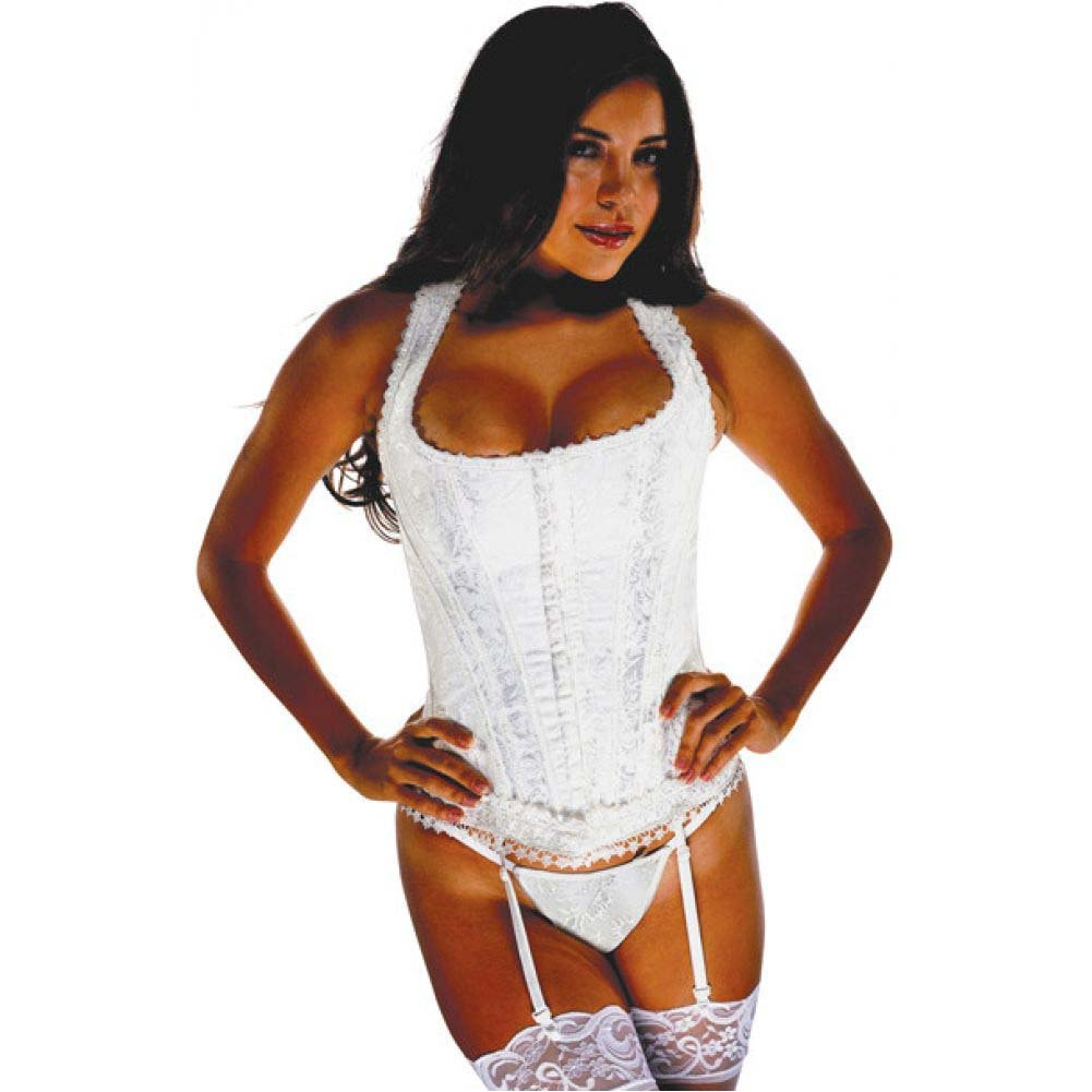Brocade Pattern Razor Back Corset with Hook and Eye Front Closure and Acrylic Boning Ivory 44 - View #1