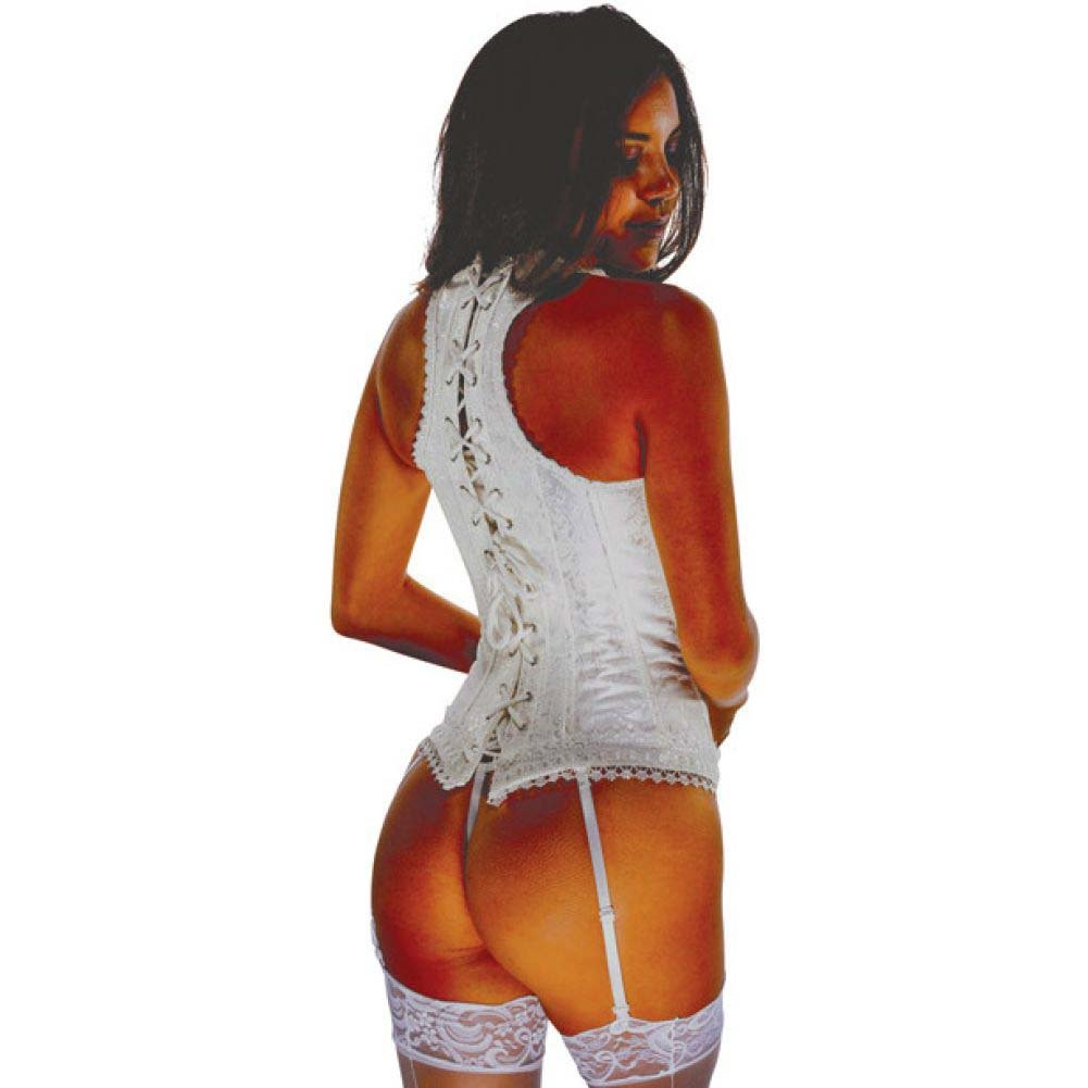 Brocade Pattern Razor Back Corset with Hook and Eye Front Closure and Acrylic Boning Ivory 32 - View #2