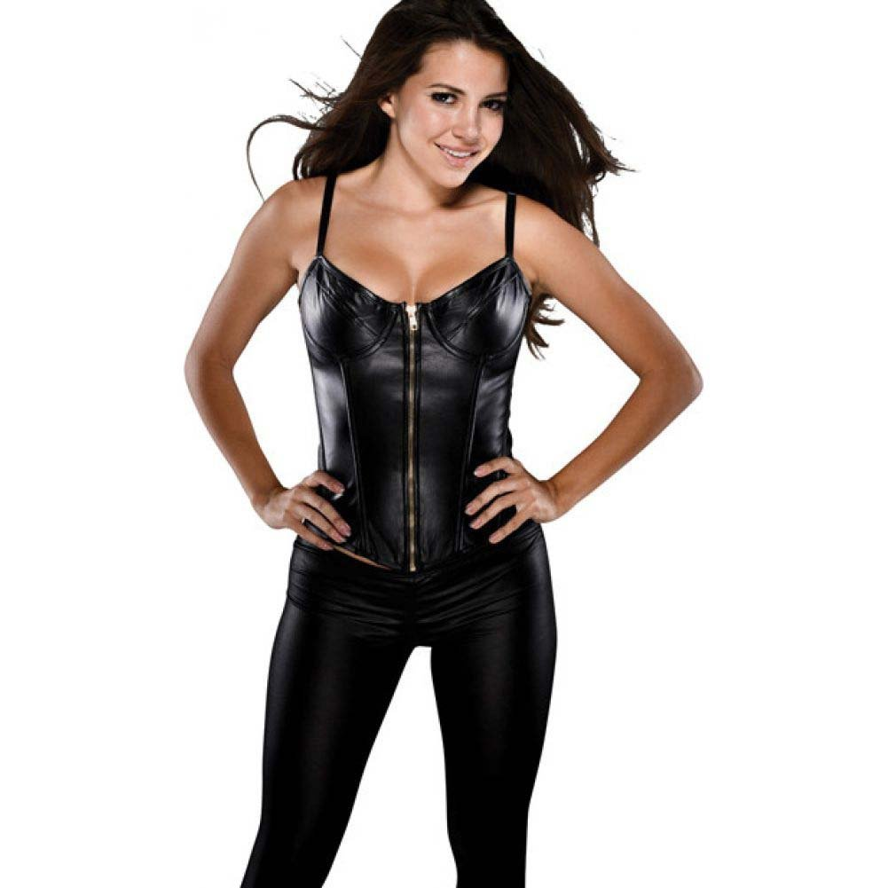 Faux Leather Corset with Adjustable Straps Underwire Cup and Acrylic Boning Black Large - View #1