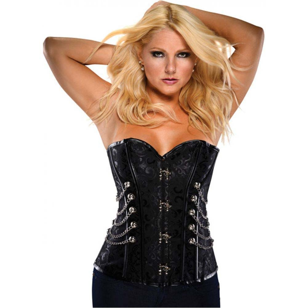 Steampunk Brocade Pattern Corset with Acrylic Boning Black Medium - View #1