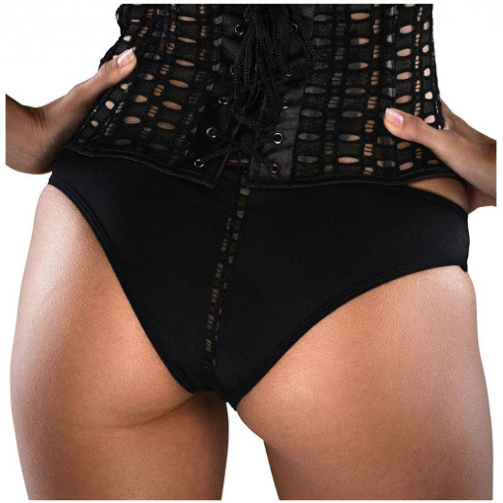 Razorback Corset with Pot-Hole Feature Side Zipper Padded Cup Side Boning and Panty Black 36 - View #3
