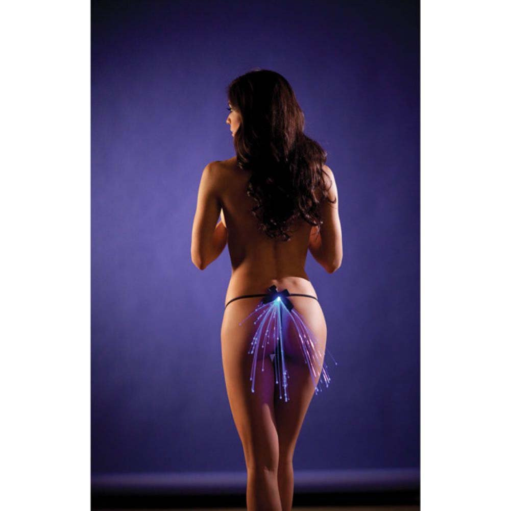 Black G-String with Bow and Led Light Up Detail Blue One Size - View #1
