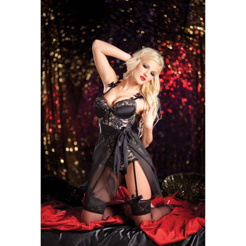 Body Shaper Tie Side Babydoll with Lace Overlay Garters and Snap Bottom Nude Black Extra Large - View #2