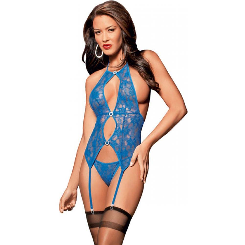 Jeweled Lace Bustier Panty and Thigh Highs Royal One Size - View #1