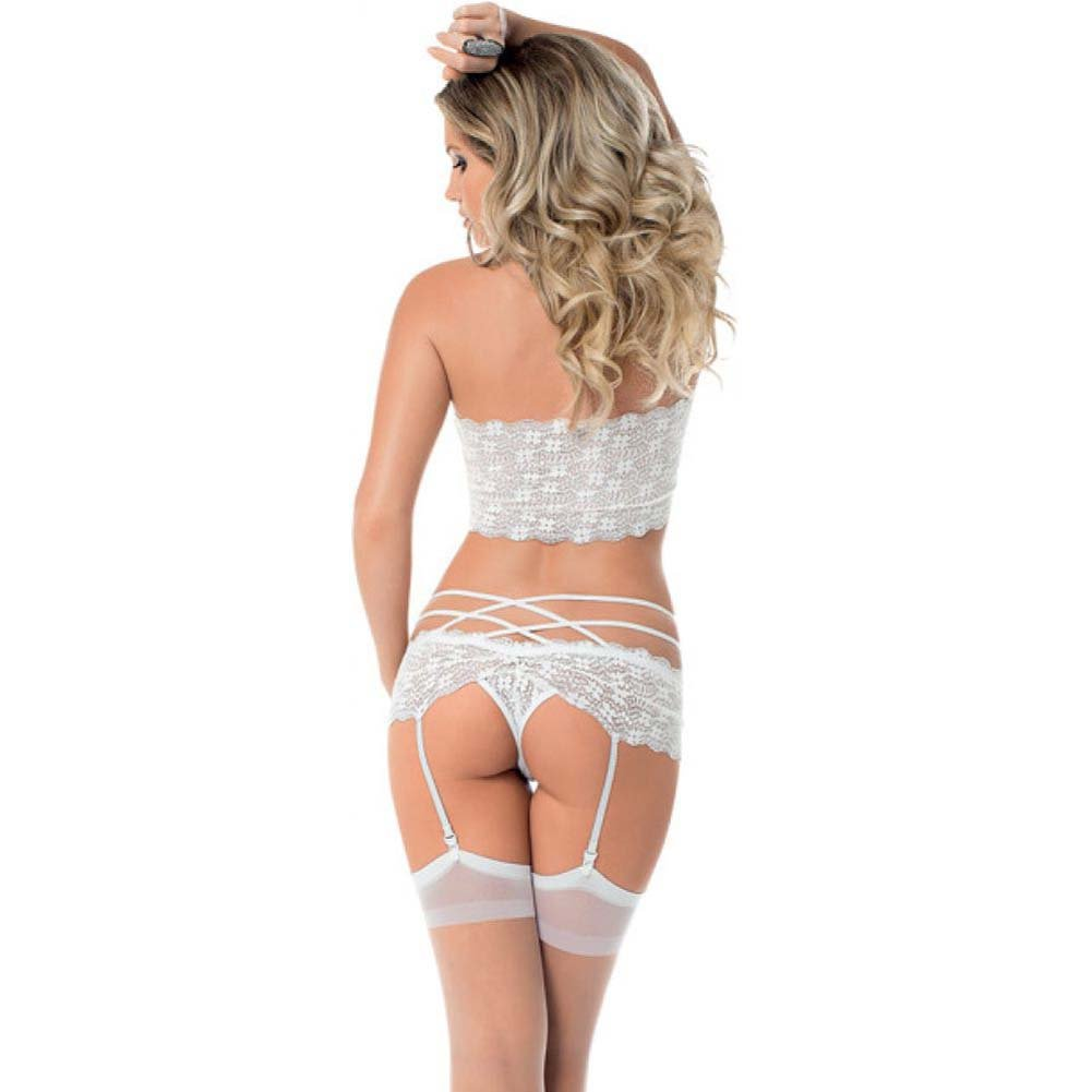 Lace Tri Top Bra Garter Panty and Thigh Highs White One Size - View #2