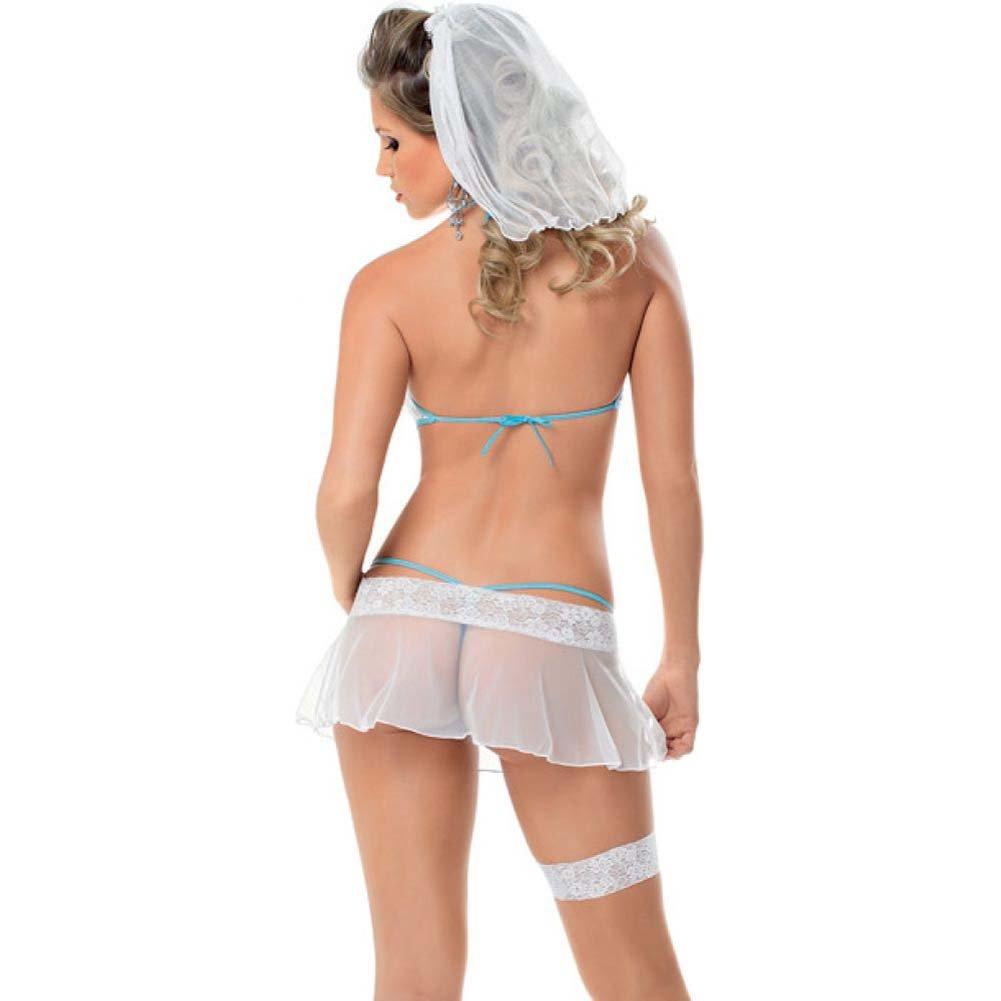 Bridal Bra Skirt Panty Leg Garter and Veil White One Size - View #2