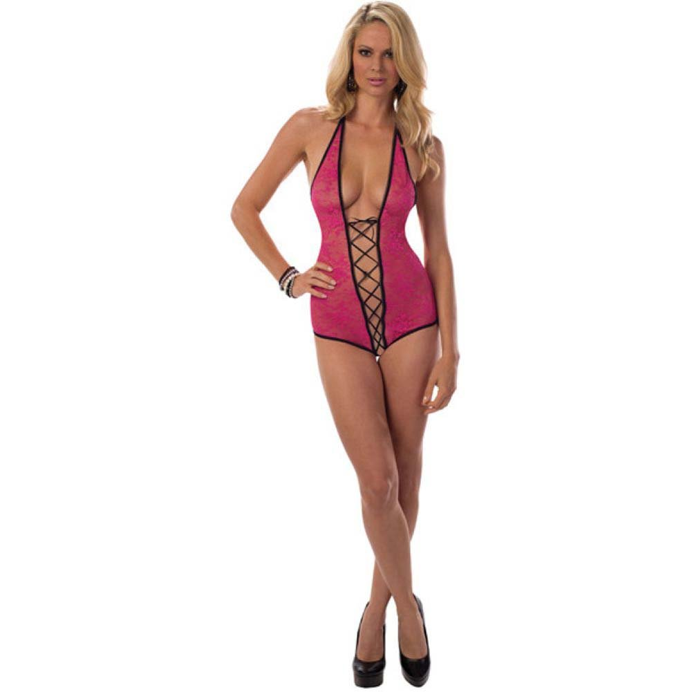 Lace Up Crotch Teddy Hot Pink Black One Size - View #1