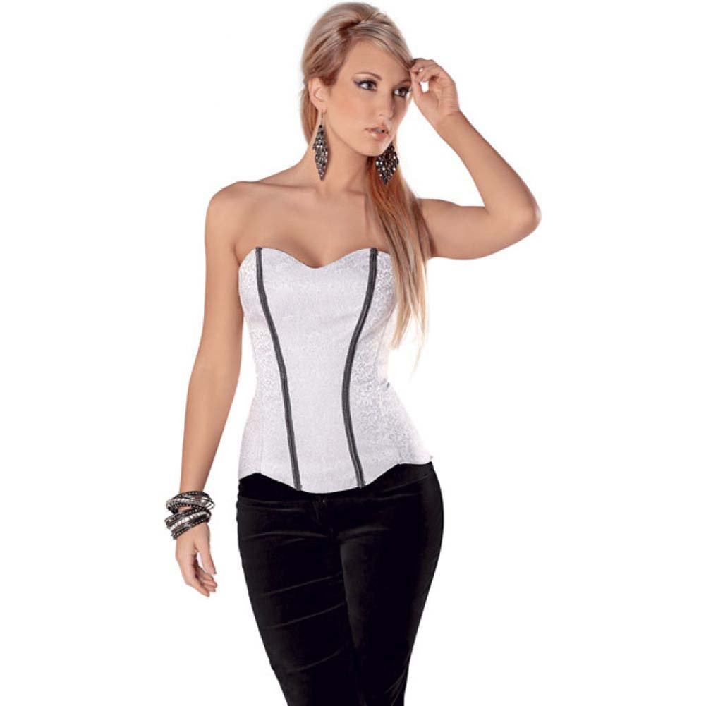 Chain Trim Corset with Soft Boning Side Zipper and Lace Up Back Grey 34 - View #1