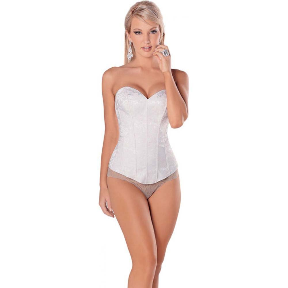 Elegant and Seductive Sheer Back Paneled Corset with Soft Boning and Side Zipper White 32 - View #1