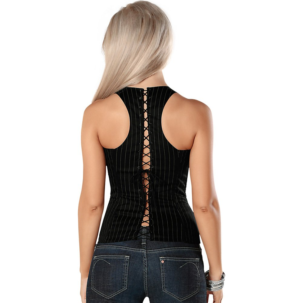 Adjustable Buckle Strap Corset with Front Zipper and Soft Boning Black White Pinstripe 38 - View #2