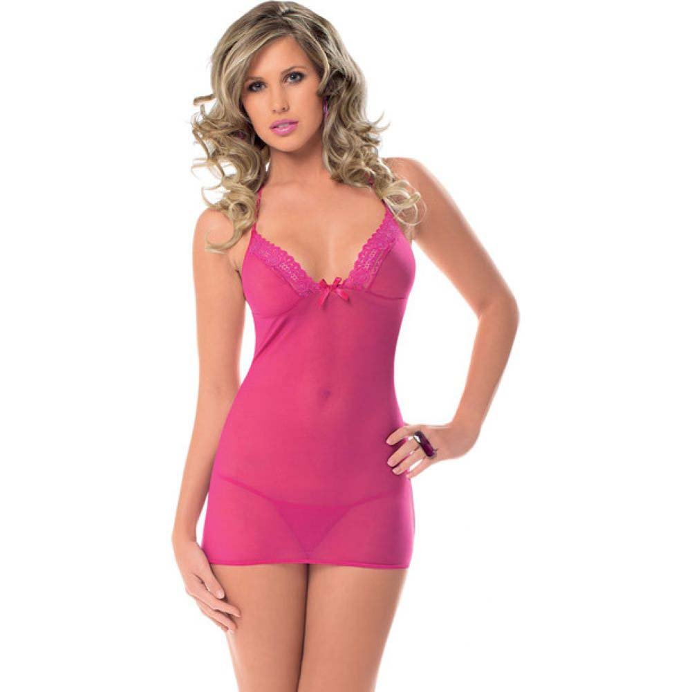 Halter Tie Chemise with Tie Open Back and G-String Racy Pink One Size - View #1