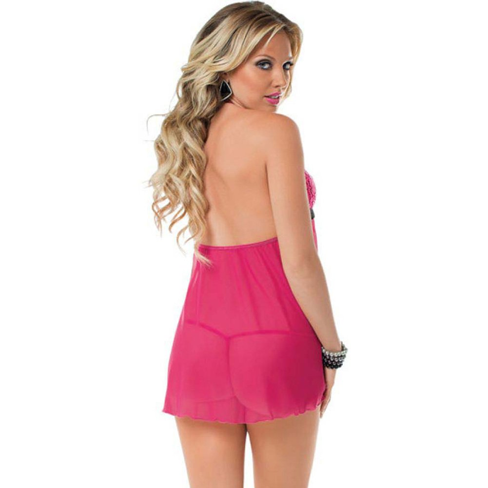Open Front Babydoll with Black Bow Accent and Panty Pink One Size - View #2