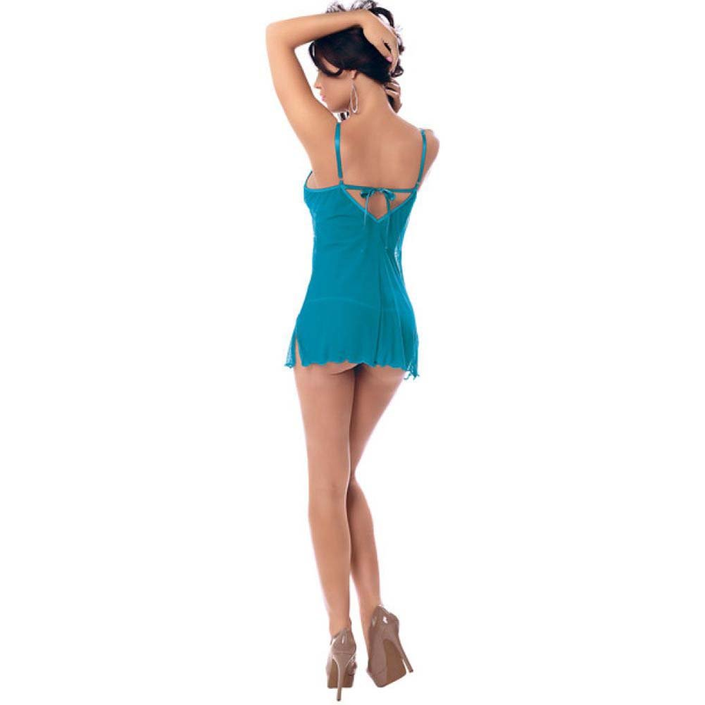 Embroidered Chemise with Molded Cups Adjustable Straps and G-String Cerulean Blue Small - View #2