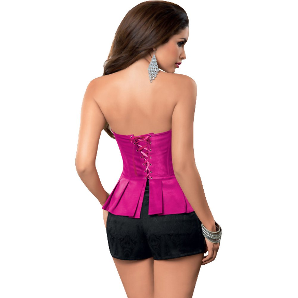 Peplum Corset with Ribbon Lace Up Back and Side Zipper Hot Pink Gloss 32 - View #1