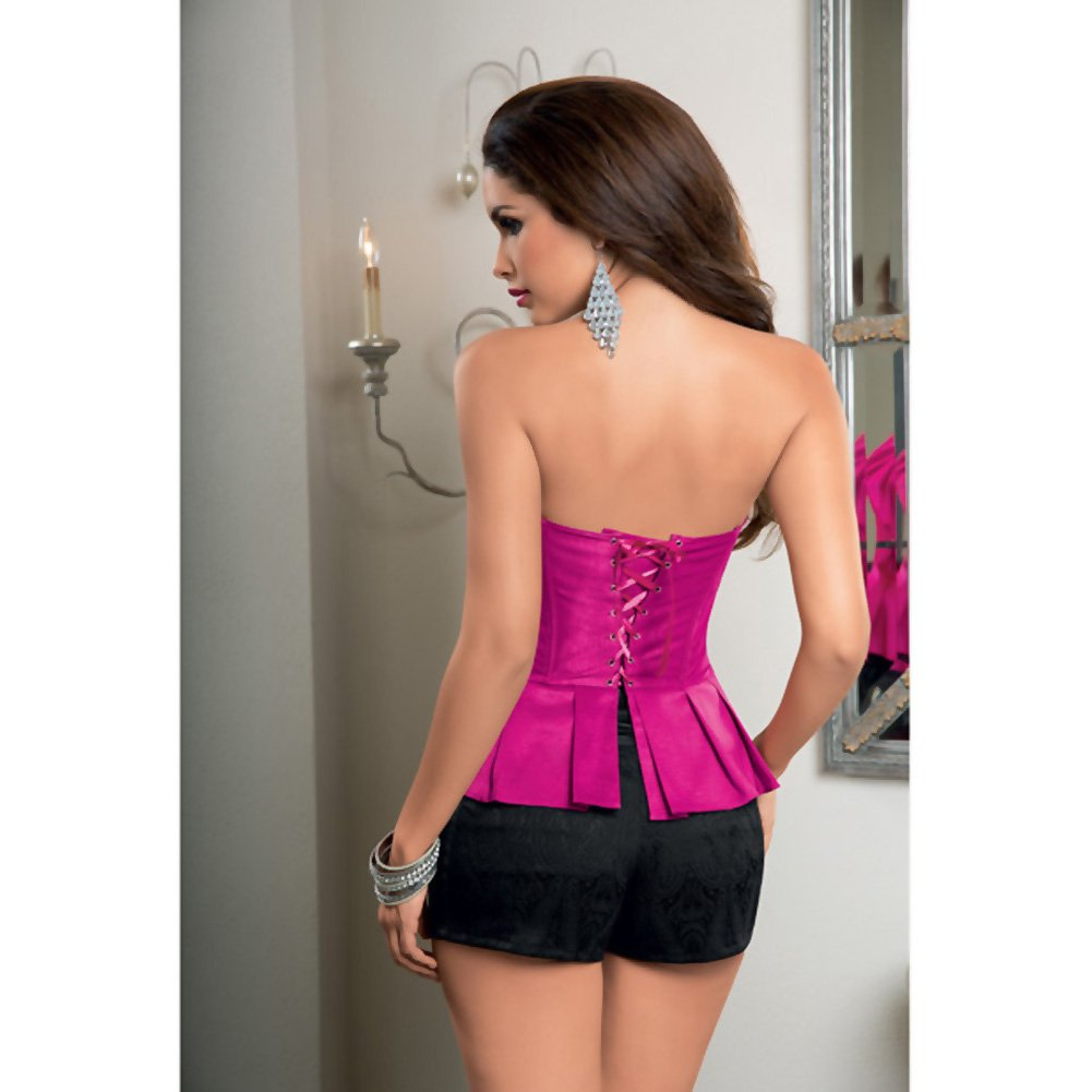 Peplum Corset with Ribbon Lace Up Back and Side Zipper Hot Pink Gloss 32 - View #3
