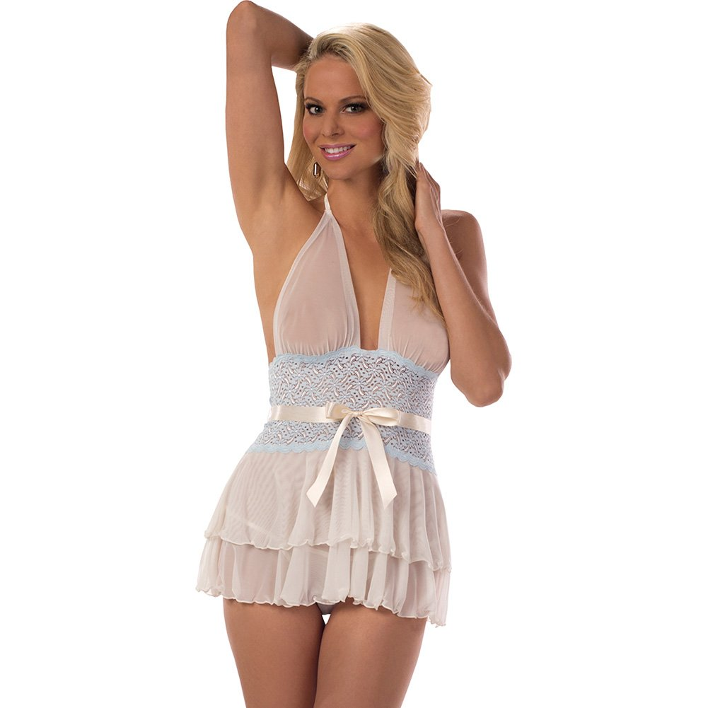 Sheer and Lace Halter Chemise Ivory Sweet Blue Small - View #1