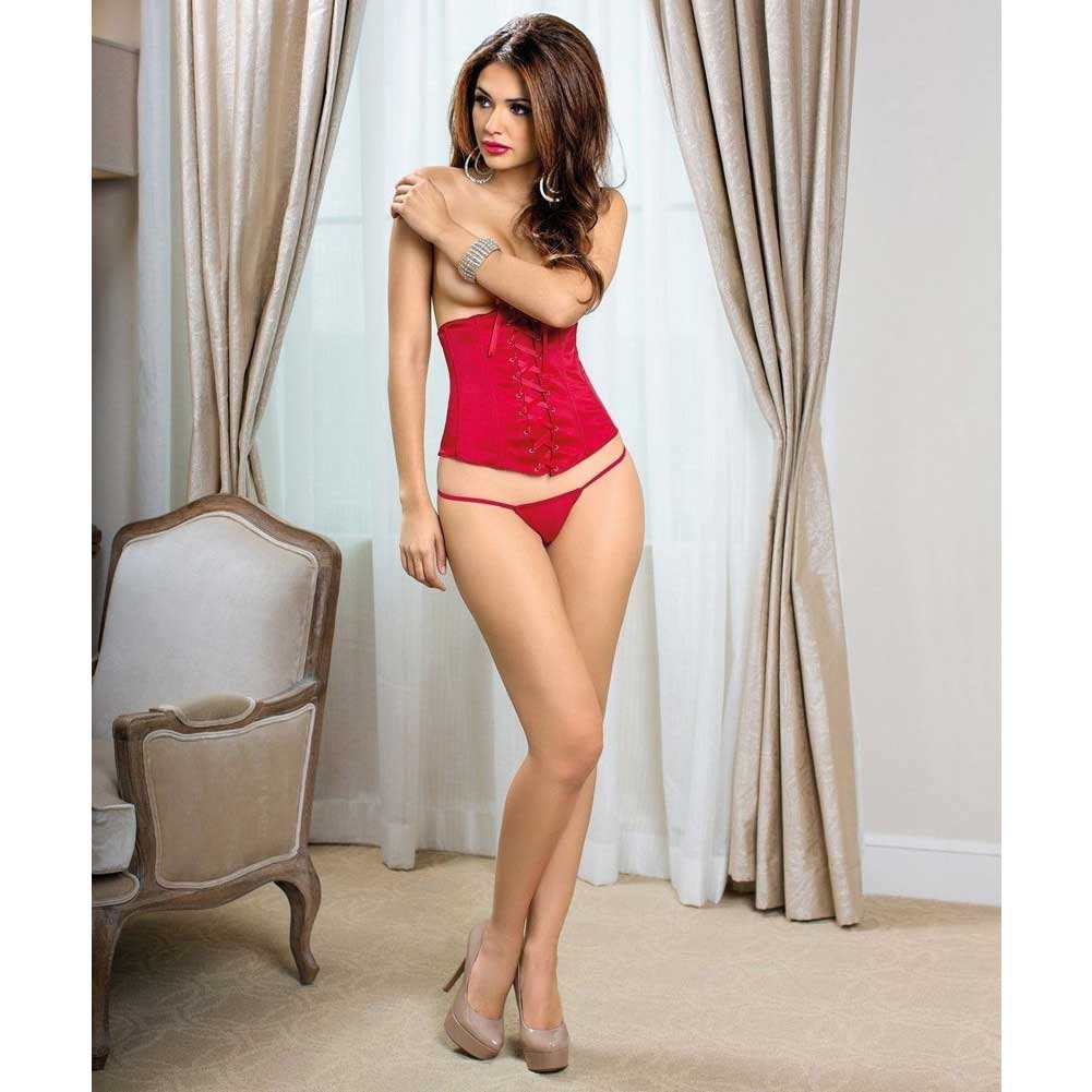 Escante Front Lace Up Waist Cincher Size 34 Red - View #2