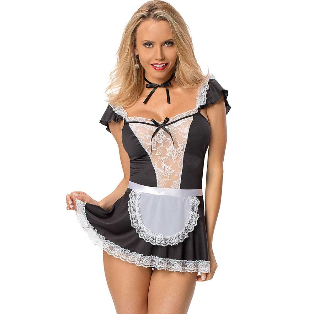 Chamber Maid Dress Apron Neck Ribbon and Panty Black White One Size - View #1