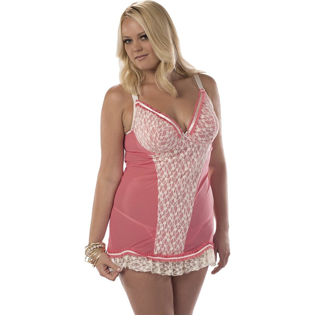 Chemise with Lace Front Overlay Coral Ivory 2X - View #1
