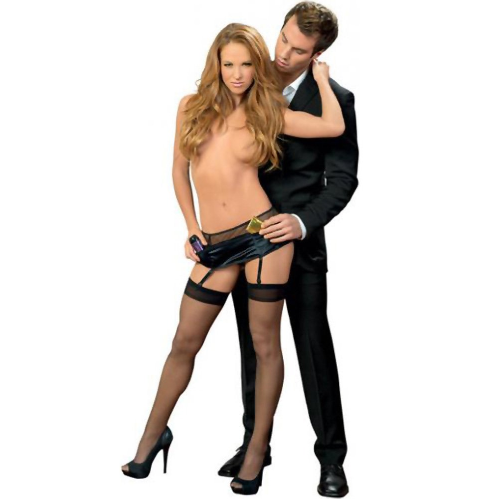 Fishnet and Stretch Satin Toolbelt Garterbelt with Hose Black One Size - View #2