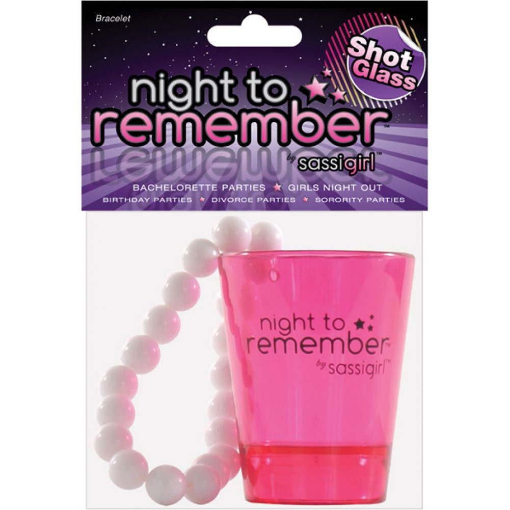 Erotic Toy Sassigirl Night to Remember Shot Glass and Bracelet Hot Pink/ White - View #4