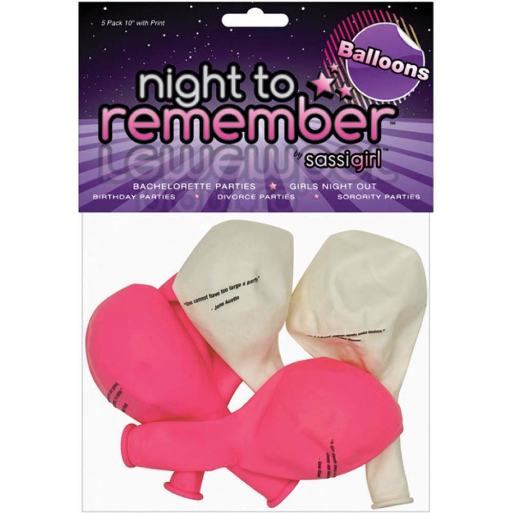 "Night to Remember 10"" Balloons with Print 5 Piece Pack by Sassigirl - View #1"