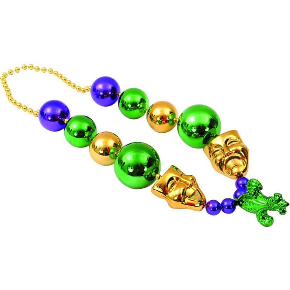 Sassigirl Night to Remember Jumbo Mardi Gras Beads with Mask - View #2
