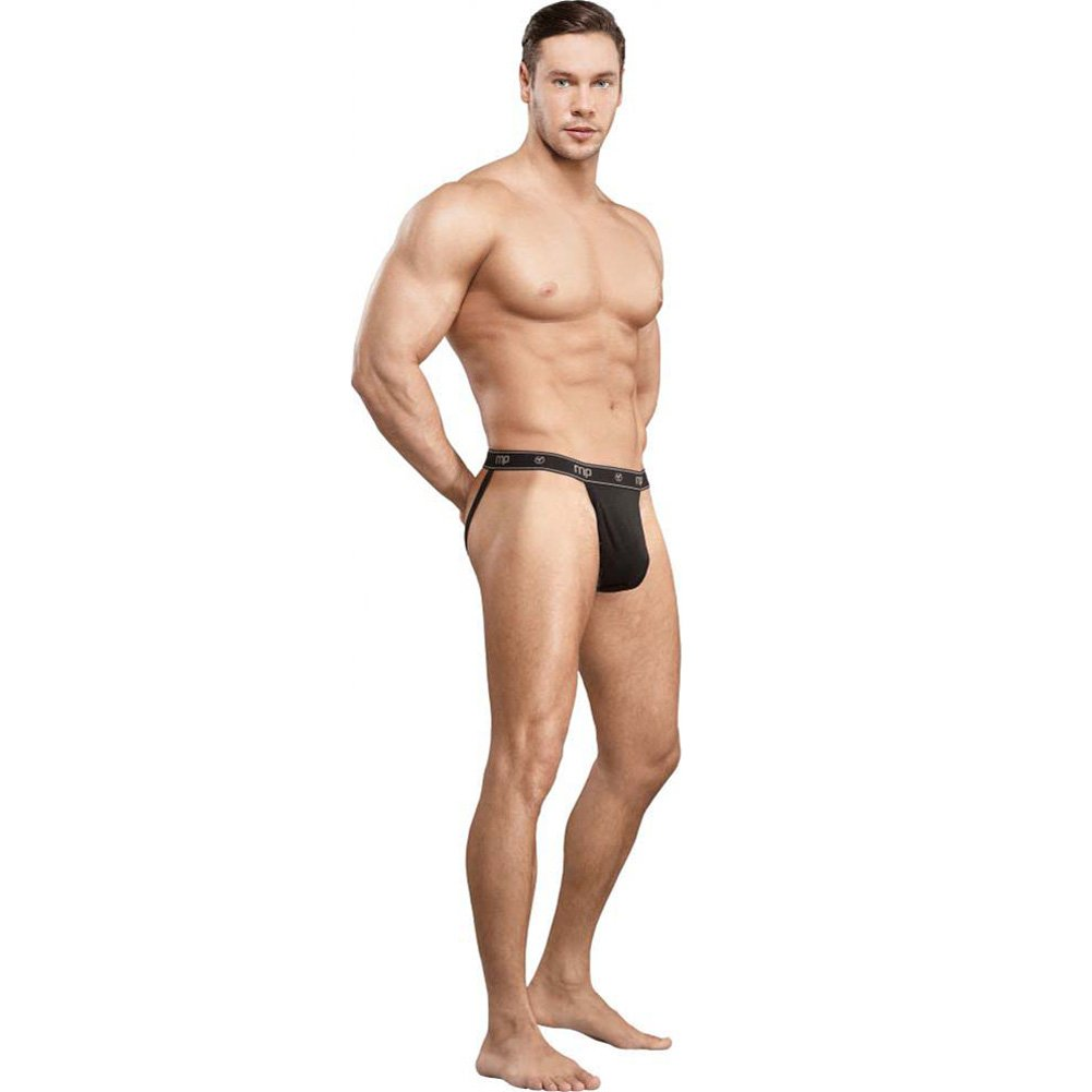 Male Power Bamboo Sport Jock Thong Small/Medium Black - View #3