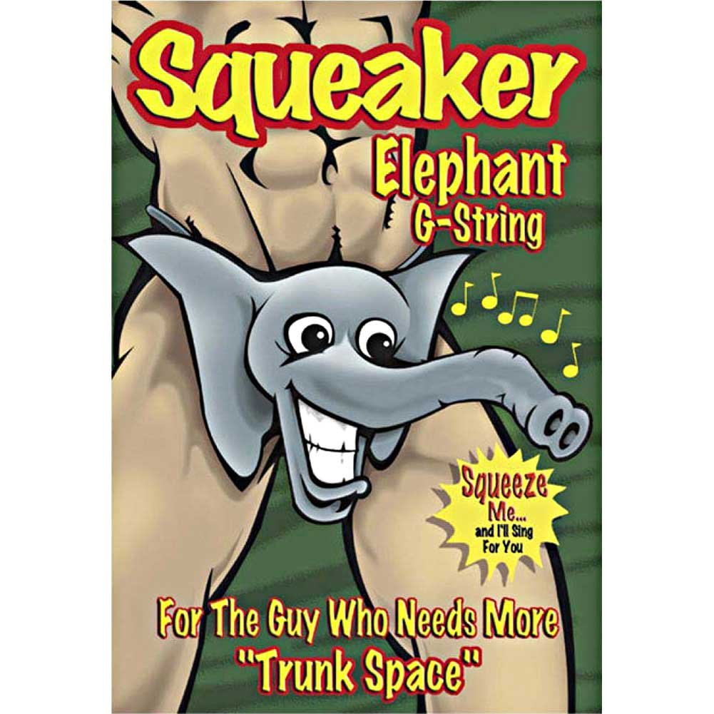 Male Power Squeaker Elephant G-String One Size Grey - View #2