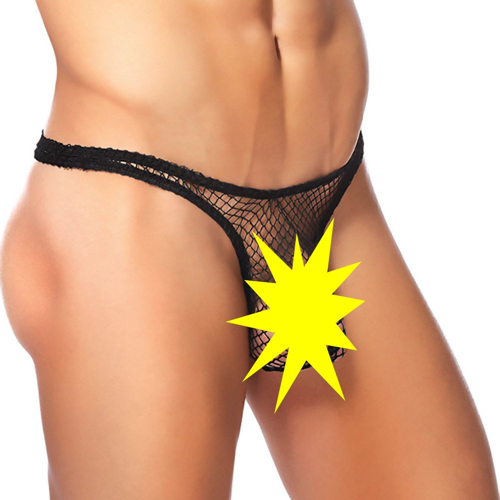 Male Power Stretch Net Pouch Thong Small/Medium Black - View #1
